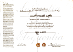 International Studies Certificate, 2015