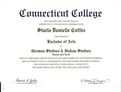 Connecticut College: Degree of Bachelor of Arts, 2015