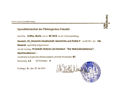 Universität Freiburg: German Society, History & Politics, 2014