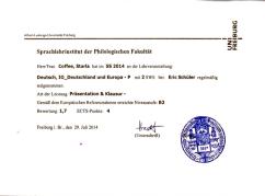 Universität Freiburg: Germany & Europe, 2014