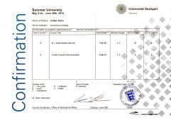 Universität Stuttgart: German Language Course & Cross-Cultural Communications Course, 2012